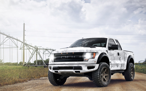 ford, raptor, white, camouflage paint, pickup, sky, clouds, transmission line, lap, ford