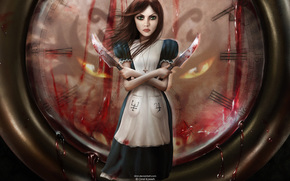 Alice, watch, Knives, blood
