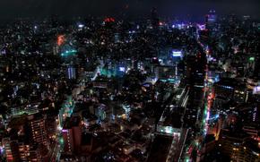 Ciudad, luces, noche, agradable, luz