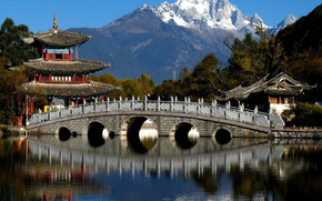 nature, Japan, bridge, mountain