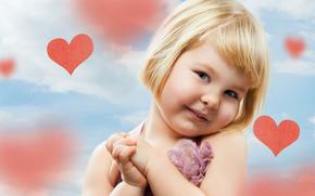 dziewczyna, szczliwy, serce, adny, dziecko, dzieci