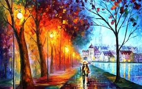 арт, город, парочка, пара, зонт, зонтик, фонари, дома, река, деревья, парк, дождь