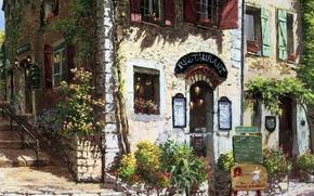 immagine, strada, casa, patio, fase, aiuole, fiori, segno, menu, finestre, Persiane