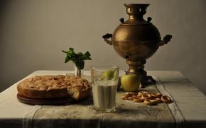 Самовар, яблоки, яблоко, шарлотка, пирог, скатерть, стакан, молоко