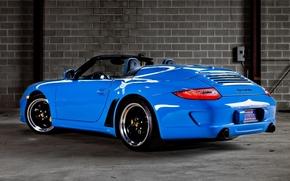 Porsche, Speedster, Supercar, back view, background, porsche