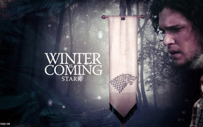 Game of Thrones, John Snow, brane, Rigido, inverno, bandiera, motto, neve, lupo