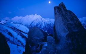 inverno, neve, Montagne, luna