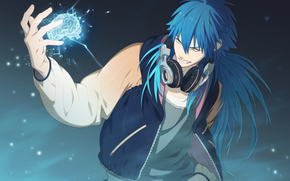 anime, cervello, cuffia, tipo, capelli blu