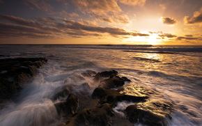 coucher du soleil, mer, Nature, paysage