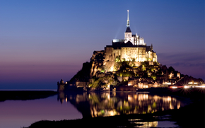 France, Normandy, Mont Saint-Michel, island, castle, fortress, lights, backlight, Mount Michael the Archangel, lilac, evening, blue, sky, water, reflection