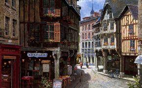 图片, 欧洲, 城市, 街道, 家, 商店, 自行车, 展示