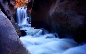 waterfall, stones, water