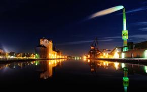 city, dock, Port, pipe, lights, night