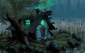 casa, piccola capanna, Black Cat, gatto, alberi, erba, fiume, pietre, canna
