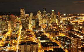 USA, Waszyngton, seattle, Miasto w nocy, Wieowce, budynek, podwietlenie, wiata
