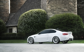 BMW, white, Trees, home, Tower, bmw