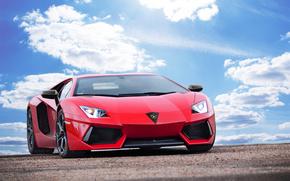 Lamborghini, Aventador, LP700-4, LB834, Rosso, Lamborghini, Lamborghini, Aventador, rosso, cielo, nuvole, auto, macchinario, Auto