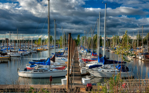 berth, pier, wharf, Yacht, Boat, boats, Mast, ship, forest, Trees, sky, clouds, clouds, Other machinery and equipment