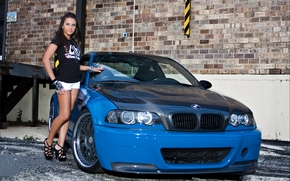 BMW, blue, CDs, girl, brunette, brick, wall, bmw