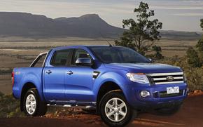форд, рэньжер, джип, пикап, передок, синий, долина, горы, небо, Ford