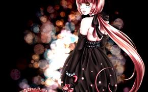 Девочка, розовые волосы, зонтик, бант