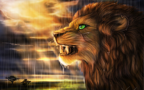Art, lion, wildcat, predator, profile, rain, sun, savannah