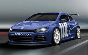 auto, auto, macchinario, macchina, Volkswagen, Scirocco, blu, movimento, strada, Volkswagen