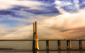 Португалия, Лиссабон, мост, река, Тежу, синее, небо, облака, тучи