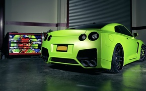 nissan, GT-R, green, green, mat, Tuning, garage, devil, cars, machinery, Car