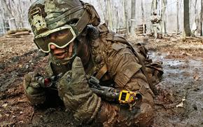soldier, teaching, weapon, automatic, sight, mask, suit, helmet