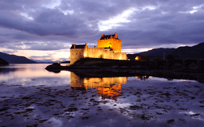 United Kingdom, Scotland, castle, fortress, backlight, lilac, evening, sky, clouds, bridge, pond, water, reflection