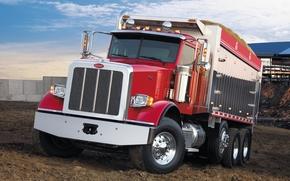 camion, rosso, anteriore, cielo, Altri marchi