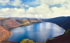 Iceland, lake, volcano, sky, clouds