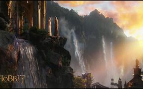 Hobbit, Andata e ritorno, un viaggio inaspettato, Rivendell, Gandalf, Galadriel, mago, elfo, Elven Castello, cascata, foresta, rottura, tramonto