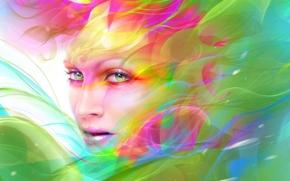 арт, девушка, лицо, макияж, абстракция, краски, взгляд