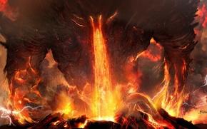Арт, титан, гнев, огонь, молнии, лава, вулкан, пепел
