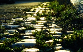 road, curb, stones, grass, light