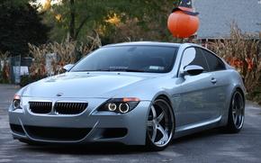 BMW, plata, CD, luz de da, Los rboles, edificio, BMW