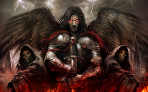Art, angel, heretic, Undead, blood, Lightning, fire, sword, armor, burning eyes