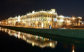 night, reflection, Hermitage, St. Petersburg, Peter