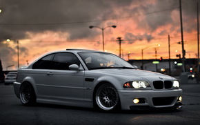 BMW, white, city, sky, sunset, bmw