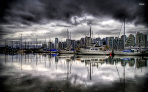 Canada, Port, vancouver, wharf, boat, Colombia, bay