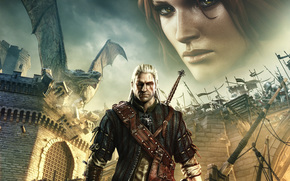 The Witcher, Geralt from Rivii, Triss Merigold, dragon, fire, sword, castle, scar, view, medallion, The Butcher of Blavikena, White Wolf, White-haired