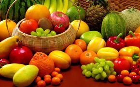 pineapple, melons, bananas, watermelon, garnet, tangerines, paprika, tomatoes, grapes, kumquats, krzinka, fruit, vegetables, still life