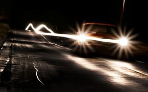 дорога, след, ночь