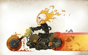 Ghost Rider, picture, motorcycle, fire, skull, chain, overall, comic strip