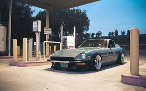 nissan, 260z, old, school, gas, station, Nissan, filling, cars, machinery, Car