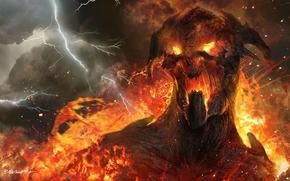 Арт, титан, гнев, огонь, молнии, дым