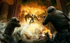 омон, бой, огнестрельное оружие, демон, взрыв, огонь, машины