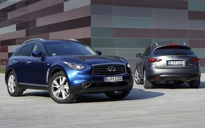 Infinity, jeep, blue, crossover, gray, front, back view, background, infiniti